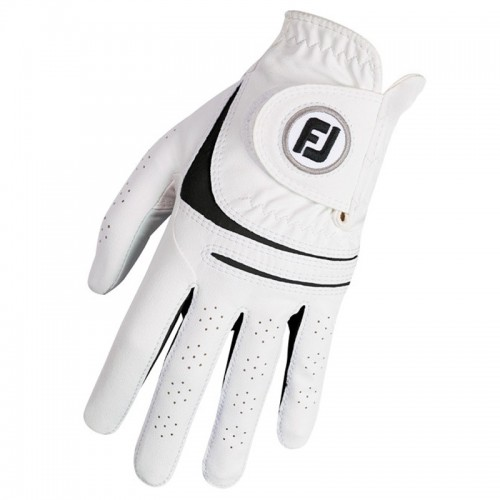FootJoy Mens Weathersof Golf Gloves White & Black Left Hand (Right Handed Golfer) 1 Pack