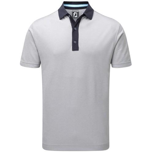 FootJoy Golf Smooth Pique Pin Dot Mens Polo Shirt (Grey/Navy/White)