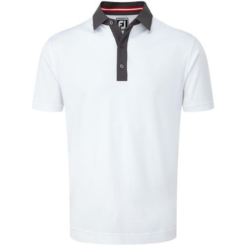 FootJoy Golf Smooth Pique Pin Dot Mens Polo Shirt (White/Charcoal/Red)