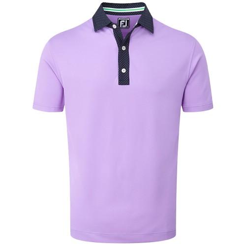 FootJoy Golf Smooth Pique Pin Dot Mens Polo Shirt (Lavander/Navy/White)