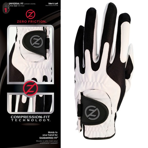 ZERO FRICTION GOLF GLOVE ONE SIZE COMPRESSION FIT MENS RIGHT HAND (LEFT HANDED GOLFERS)