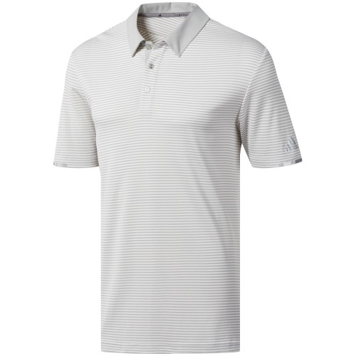 adidas Golf Climachill Tonal Stripe Mens Short Sleeve Polo Shirt (White)
