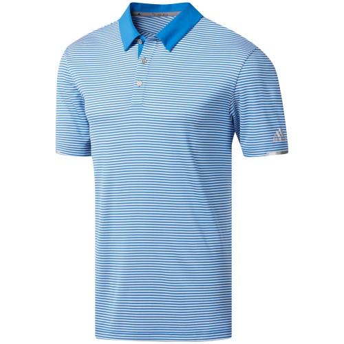 adidas Golf Climachill Tonal Stripe Mens Short Sleeve Polo Shirt  - True Blue