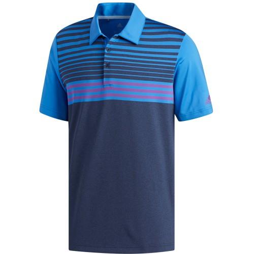 adidas Golf Ultimate 365 3-Stripes Heathered Mens Short Sleeve Polo Shirt (Collegiate Navy/True Blue)