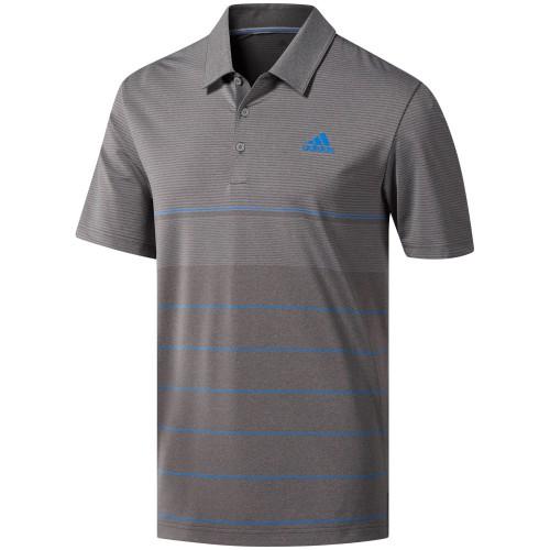 adidas Golf Ultimate 365 Heather Stripe Mens Short Sleeve Polo Shirt (Grey Five/True Blue)