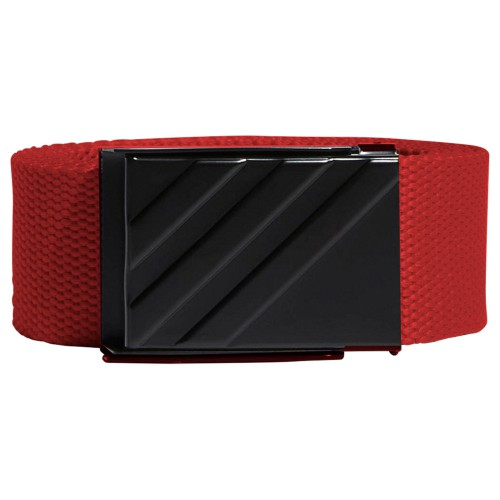 adidas 3-Stripes Buckle Webbing Golf Belt (Bold Red)