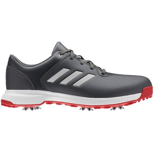 adidas CP Traxion Water-Resistant Mens Golf Shoes - Wide Fit (Grey/Silver Metallic/Scarlet)