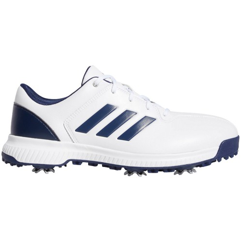 adidas CP Traxion Water-Resistant Mens Golf Shoes - Wide Fit (White/Dark Blue/Silver Metallic)