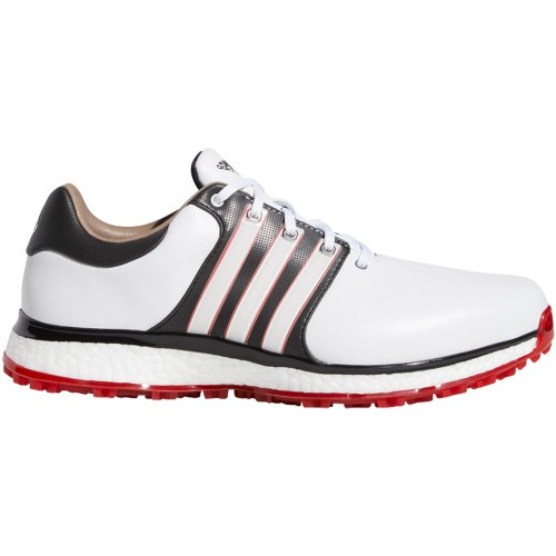 adidas Tour 360 XT-SL Waterproof Spikeless Mens Golf Shoes - Wide Fit (White/Core Black/Scarlet)