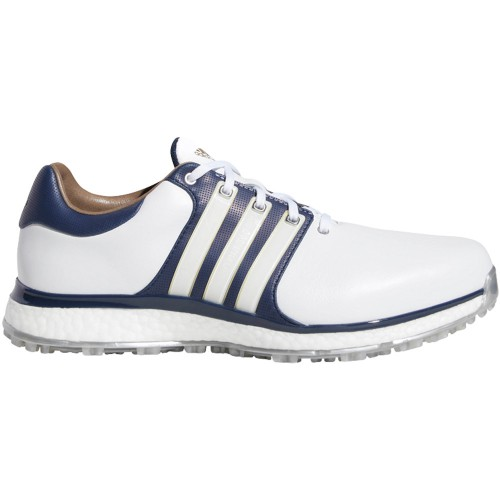 adidas Tour 360 XT-SL Waterproof Spikeless Mens Golf Shoes - Wide Fit (White/Collegiate Navy)