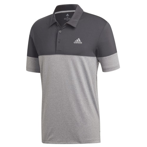 adidas Golf Ultimate 2.0 Heather Blocked Short Sleeve Mens Polo Shirt (Grey Five/Black)
