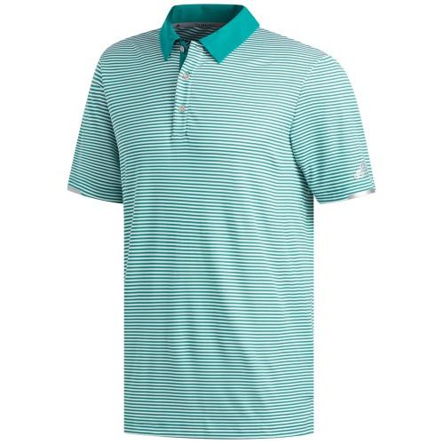 adidas Golf Climachill Tonal Stripe Mens Short Sleeve Polo Shirt (Active Green/White)
