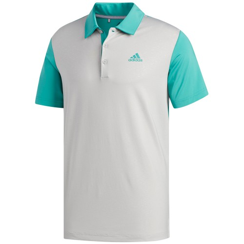 adidas Golf Ultimate 365 Camo Embossed Mens Short Sleeve Polo Shirt (Grey Two/True Green)
