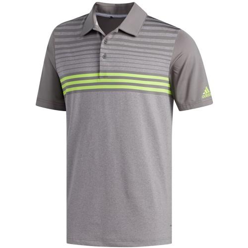 adidas Golf Ultimate 365 3-Stripes Heathered Mens Short Sleeve Polo Shirt (Grey Three/Solar Slime)