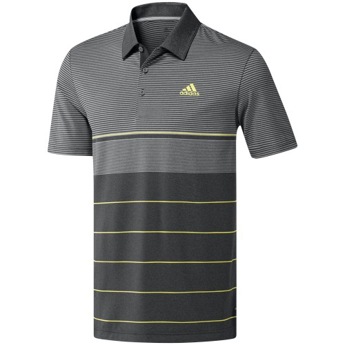 adidas Golf Ultimate 365 Heather Stripe Mens Short Sleeve Polo Shirt  - Grey/Hi-Res Yellow