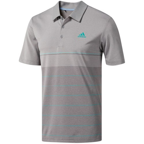 adidas Golf Ultimate 365 Heather Stripe Mens Short Sleeve Polo Shirt (Grey/True Green)