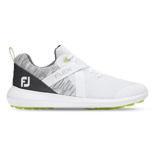 FootJoy Flex Lightweight Mesh Spikeless Mens Golf Shoes (White / Grey)
