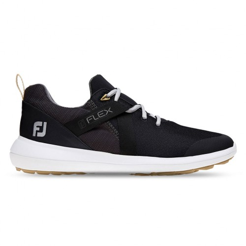 FootJoy Flex Lightweight Mesh Spikeless Mens Golf Shoes (Black)