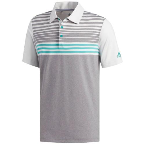 adidas Golf Ultimate 365 3-Stripes Heathered Mens Short Sleeve Polo Shirt (Grey Three/Crystal White)