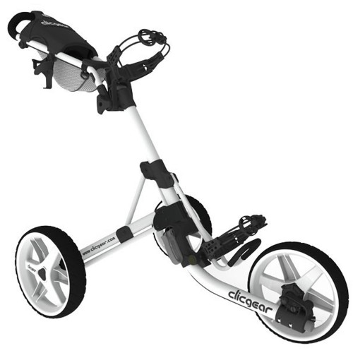 Clicgear 3.5+ Golf Trolley Push Cart + Free Wheel Covers (Arctic White)