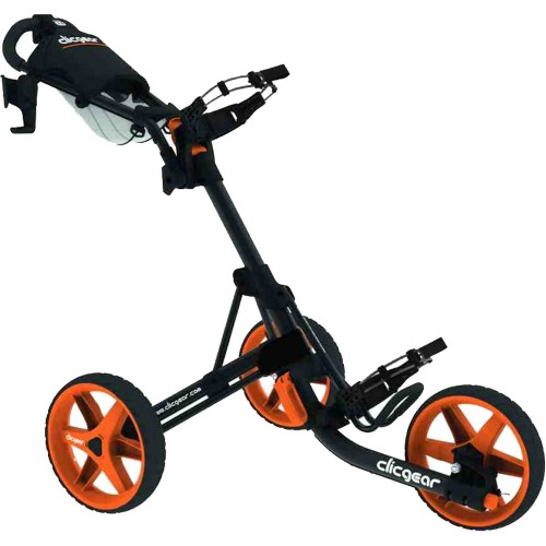 Clicgear 3.5+ Golf Trolley Push Cart + Free Wheel Covers (Charcoal/Orange)