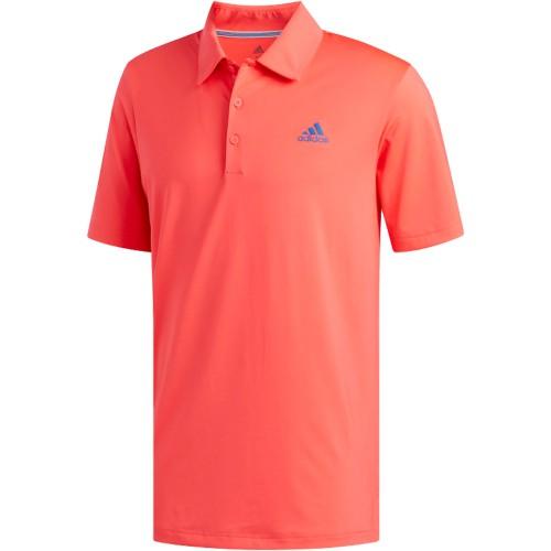 adidas Golf Ultimate 365 Solid Mens Short Sleeve Polo Shirt (Shock Red/Dark Marine)