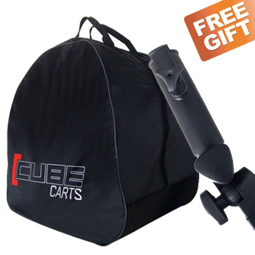 CUBE 3 WHEEL COMPACT PUSH PULL GOLF TROLLEY CART - FREE UMBRELLA HOLDER & TRAVEL COVER reverse