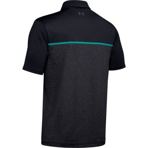 Under Armour Golf Playoff 2.0 Stretch Mens Polo Shirt (Black/Teal Rush)