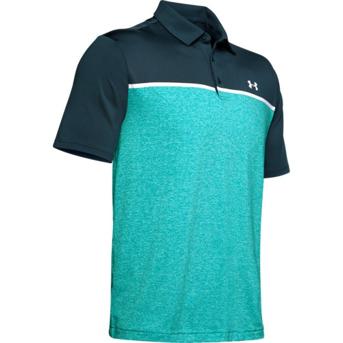 Under Armour Golf Playoff 2.0 Stretch Mens Polo Shirt (Tandem Teal/White)