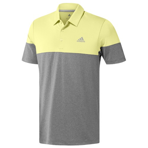 adidas Golf Ultimate 2.0 Heather Blocked Short Sleeve Mens Polo Shirt (Grey/HI Res Yellow)