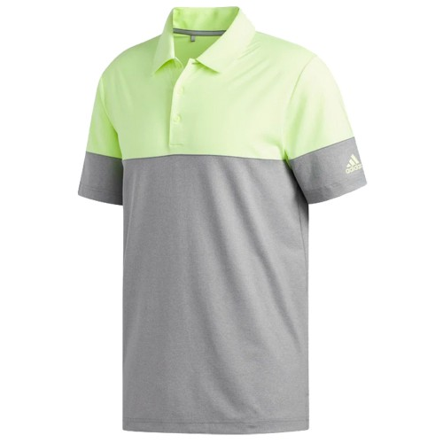 adidas Golf Ultimate 2.0 Heather Blocked Short Sleeve Mens Polo Shirt (S/L Grey/HI Res Yellow)