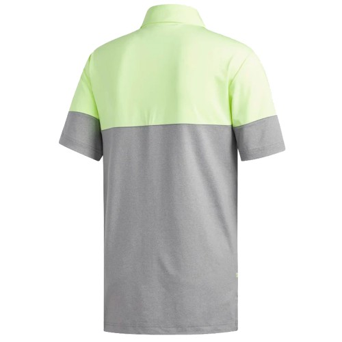 Adidas Golf 2019 Mens Ultimate 2.0 Heather Blocked Short Sleeve Polo Shirt reverse