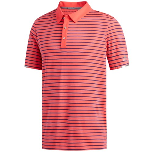 Adidas Mens Golf Climachill Three Colour Stripe Polo Shirt