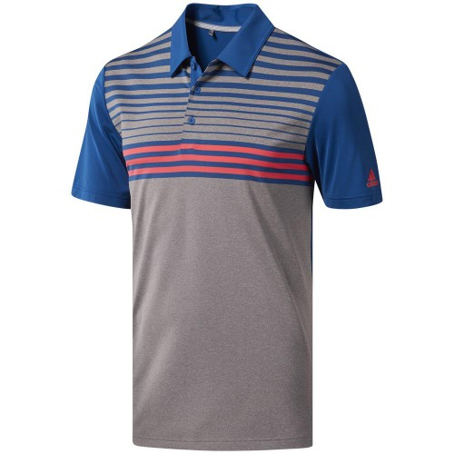 adidas Golf Ultimate 365 3-Stripes Heathered Mens Short Sleeve Polo Shirt  - Grey Three/Dark Marine