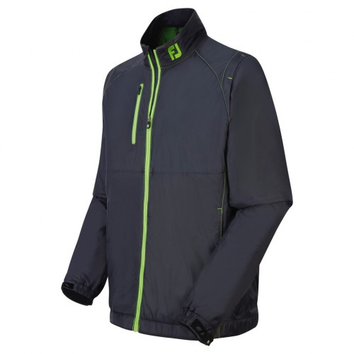 FootJoy Mens Hybrid Thermal Fleece Full Zip Jacket (Black/Fresh Green) ((NW))