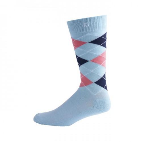 FootJoy Golf ProDry Fashion Crew Argyle Mens Socks (Light Blue)