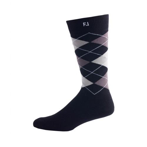 FootJoy Golf ProDry Fashion Crew Argyle Mens Socks (Black)