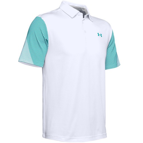 Under Armour Golf Playoff 2.0 Stretch Mens Polo Shirt (White/Teal Rush)