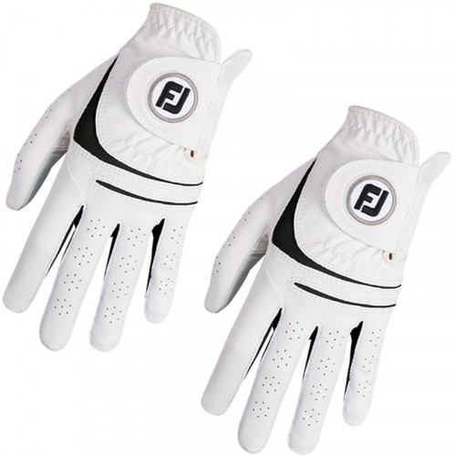 FootJoy Mens Weathersof 2 Pack Golf Gloves White & Black Left Hand Twin Pack (Right Handed Golfer)