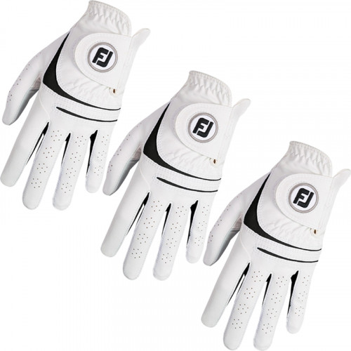FootJoy Mens Weathersof 3 Pack Golf Gloves White & Black Left Hand (Right Handed Golfer)