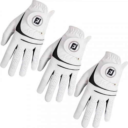 FootJoy Mens Weathersof 3 Pack Golf Gloves White & Black Left Hand (Right Handed Golfer)