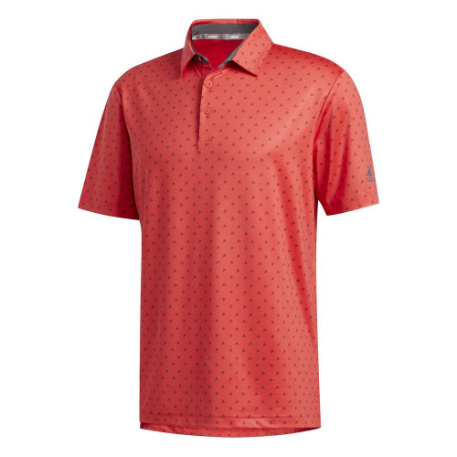 adidas Golf Ultimate365 Badge of Sport Mens Polo Shirt (Real Coral/Grey)