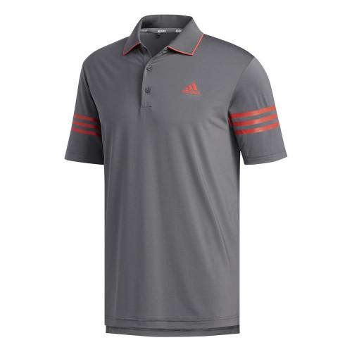 adidas Golf Ultimate365 Blocked Mens Polo Shirt (Grey Five/Real Coral)