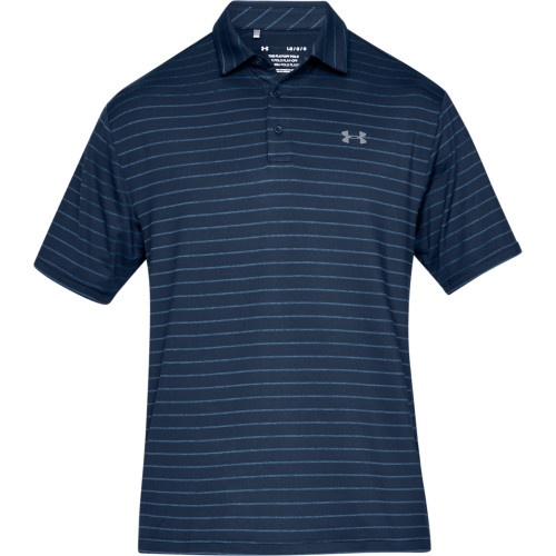 Under Armour Mens Tour Stripe PlayOff Golf Polo Shirt (Academy/Blue)