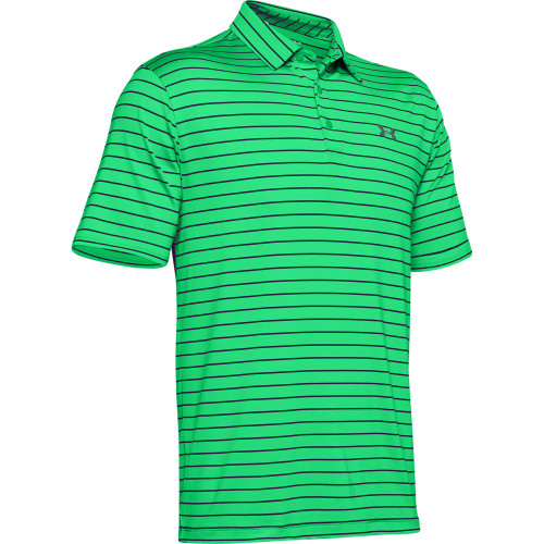 Under Armour Mens Tour Stripe PlayOff Golf Polo Shirt (Vapour Green/Black)