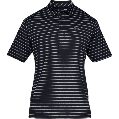Under Armour Mens Tour Stripe PlayOff Golf Polo Shirt (Black/Grey)