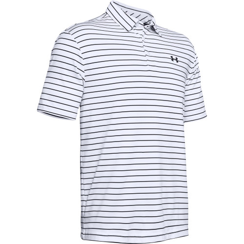 Under Armour Mens Tour Stripe PlayOff Golf Polo Shirt (White/Black)