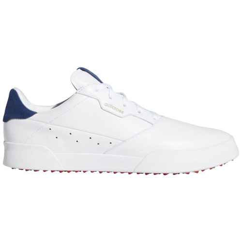 adidas Adicross Retro Mens Spikeless Golf Shoes (White/Silver Metallic/Tech Indigo)