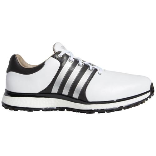 adidas Tour 360 XT-SL Waterproof Spikeless Mens Golf Shoes - Wide Fit (White/Matt Silver/Black)