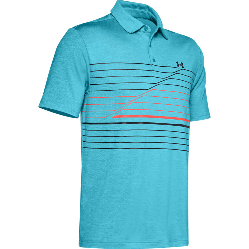 Under Armour Mens PlayOff Hero Graphic Golf Polo Shirt (Escape/Rift Blue/Black)